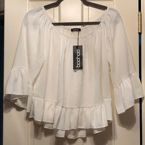 Boohoo off the shoulder white blouse